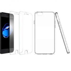 Komplet: 2x zaščitno steklo + ovitek za iPhone